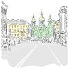 Stadtansicht, breite Allee mit Blick auf Kirche