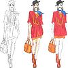 schöne Mode Mädchen Topmodell in Hut und mit Tasche