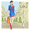 attraktive Mode Mädchen geht für St. Petersburg