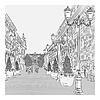 Stadtansicht, breite Allee mit Vintage-Gebäude und