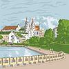 Skizze der Altstadt, Stadtbild mit Kirche und Fluss