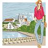 Skizze der Mode stilvolle Mädchen in der alten Stadt