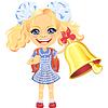 lächelndes niedliches Schulmädchen mit Glocke