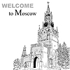 black and white sketch of Moscow Kremlin, Russia