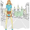 schöne Mode Mädchen Topmodel auf der Straße in St.