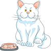 Głodny ładny biały kot z pustym bowl | Stock Vector Graphics