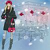 schöne modische Mädchen in der Nähe Weihnachten Pariser