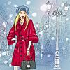 schöne modische Mädchen auf Weihnachten Stadtansicht