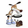 Hund mit Lupe untersucht Schnecke | Stock Illustration