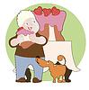 Erdbeerkuchen, Junge und sein Hund
