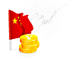 Chinesische Flagge mit Münzen