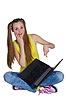 ID 3747274 | 年轻女孩坐在地板上,用笔记本电脑 | 高分辨率照片 | CLIPARTO