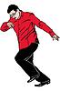 Mann sehr eilt im roten Hemd und Brille