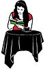 Mädchen liest ein Buch am Tisch trinken Kaffee