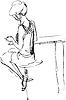 Mädchen sitzt auf hohen Stuhl im Café