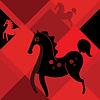 schwarzes Pferd auf rotem Hintergrund Rhombus
