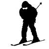 Berg Skifahrer Abhang hinunter zu beschleunigen. Sport Silhouette