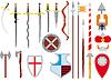 große Menge von mittelalterlichen Waffen