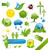 Reihe von grünen Ökologie Icons