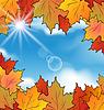 Autumn leaves Ahorn, Himmel, Wolken
