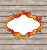 Autumn leaves Emblem mit Ahorn, Holz Textur