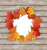Autumn leaves Ahorn mit Kopie Raum, Holz Textur