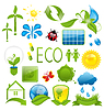 Reihe von grünen Ökologie Icons (3)