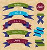 Weihnachts-Kollektion Variation Etiketten und Farbbänder