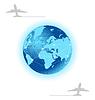 Planet mit Etikett Ebene für Design Reisekatalog