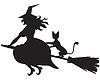 Hexe auf Besen und Katze