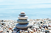 Zen-like heap of stone near sea | Stock Foto