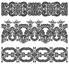 Sammlung von nahtlosen ornamentalen floralen Streifen