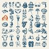 49 Hand zeichnen Skizze Sommer-Ikonen-Sammlung | Stock Vektrografik