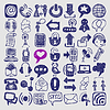 49 hand draw sketch communication element collection | Stock Foto