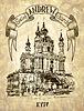 Zeichnung von Saint Andrew orthodoxen Kirche von Rastrelli