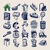 25 hand drawing doodle icon set, cleaning and | Stock Vector Graphics