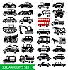 30 Auto-Ikonen-Set, schwarz auto web Piktogramm