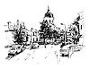 Skizze Kiew historischen Gebäude, der Ukraine