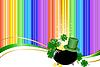 Regenbogen Hintergrund mit Koboldhut und Glas