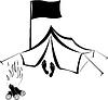 Кемпинг с палаткой и костром | Иллюстрация