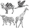 eingestellt von Tieren in der ethnischen Ornament