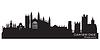 Skyline von Cambridge, England. Detaillierte Silhouette | Stock Vektrografik