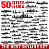 Best city skyline silhouettes set