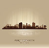 Port Elizabeth South Africa city skyline silhouette | Stock Vector Graphics