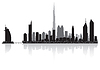Dubai city skyline silhouette | Stock Vector Graphics