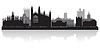 Cambridge Skyline Silhouette   Stock Vektrografik