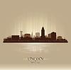 Lincoln Nebraska Skyline Silhouette