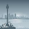 Sydney Australien Skyline Stadt Silhouette Hintergrund