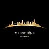 Melbourne Australien Skyline Silhouette schwarz
