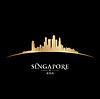Singapur Asien Skyline Silhouette schwarz